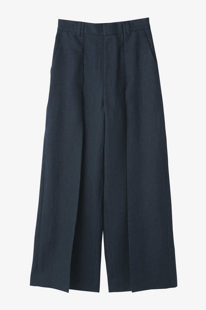 ATON / LINEN HOUND'S TOOTH WIDE PANTS1