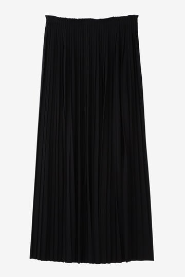 ATON / WOOL PLAIN JERSEY PLEATS SKIRT_010