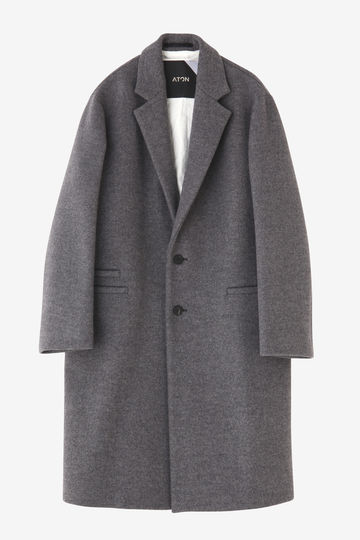 ATON / AIR DOUBLE MELTON CHESTERFIELD COAT