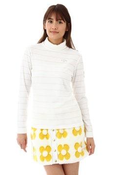 ダブルフェイスラメボーダータートルネックシャツ(WOMENS)