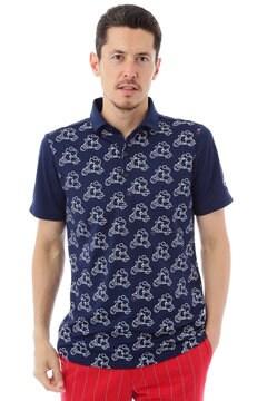 スクータープリント 鹿の子ショートワイドカラーシャツ(MENS)