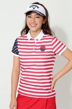 BEAR ボーダープリント鹿の子ポロシャツ(WOMENS)