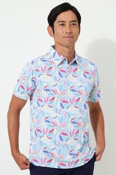 【石川プロ着用】キャロウェイ ヤシ柄プリント地柄チェックシャツ(MENS)