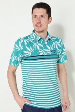 キャロウェイ ヤシプリント ドットメッシュシャツ(MENS)
