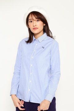 SELECT  布帛カラーストライプシャツ(WOMENS)