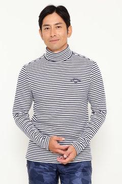 起毛ボーダータートルネックシャツ(MENS)