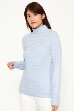 ラメボーダータートルネックシャツ(WOMENS)
