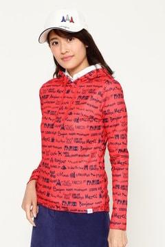 パリレタードロゴプリントフーディシャツ(WOMENS)