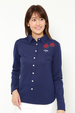 ファイン鹿の子 バラ柄クロス刺繍 共襟シャツ(WOMENS)