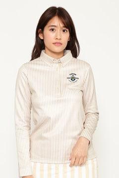 ストライププリント共襟シャツ