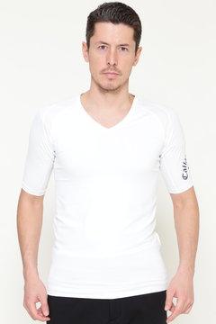 ストレッチ天竺Vネック5分丈Tシャツ (MENS)