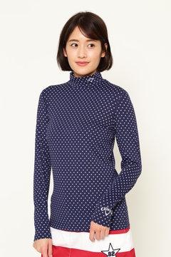 星ドットプリント ハイネックTシャツ (WOMENS)