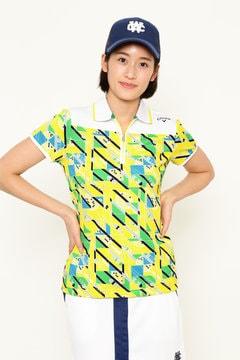 テニスプリント鹿の子ハーフジップポロシャツ (WOMENS)