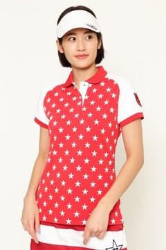 BEAR 星柄プリント 鹿の子ポロシャツ (WOMENS)
