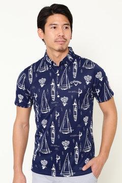 【石川プロ着用】ヨット柄プリント ボタンダウン カラーシャツ(MENS)