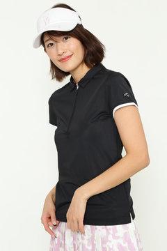 ハーフジップカラーシャツ (WOMENS)