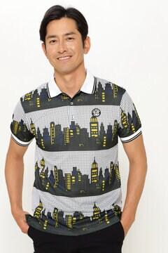 ポリエステルカノコ 半袖 ポロシャツ<アメコミ風パターン>