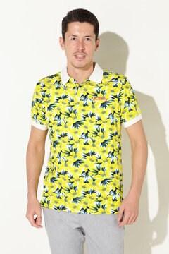 フラワープリント 吸水速乾半袖ポロシャツ