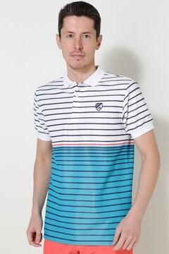 ブライトハニカムボーダー 半袖ポロシャツ