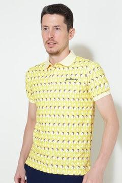 ドライカノコ フラミンゴプリント 半袖ポロシャツ