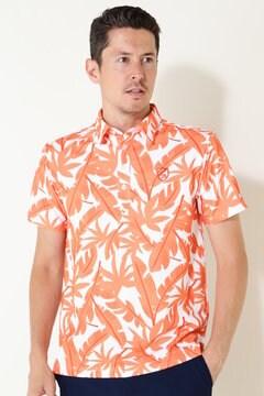 ポリコットカノコ 半袖ポロシャツ<ビッグリーフプリント>