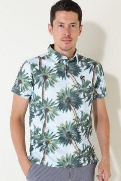 【Jack Bunny!!SALE品2点以上20%OFF】カノコ パームツリープリント 半袖ポロシャツ