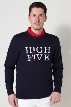 【HIGH FIVEキャンペーン対象商品】ロゴ インターシャ ニット