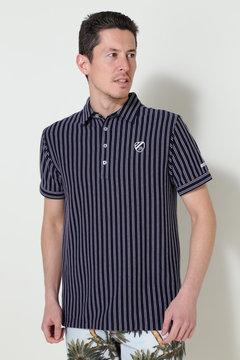 変形スムースボーダー ストライブ半袖カットシャツ