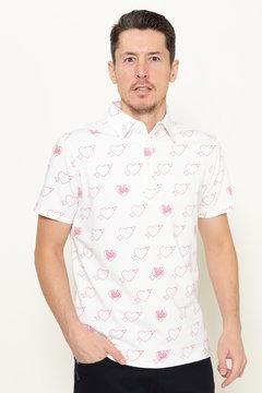 ポンチ プリント 半袖 ポロシャツ