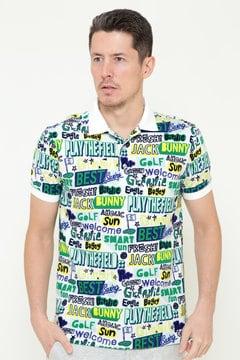 総柄プリント カノコ 半袖ポロシャツ