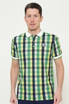ポリコット カノコ チェックプリント  半袖ポロシャツ