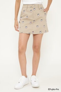 【ドラえもん】コットンポリエステル ツイル 総柄プリント ストレッチ スカート