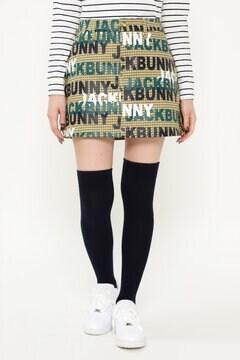 先染めチェック+ロゴプリント ストレッチ スカート