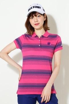 コットンカノコ ジャガードボーダー 半袖ポロシャツ