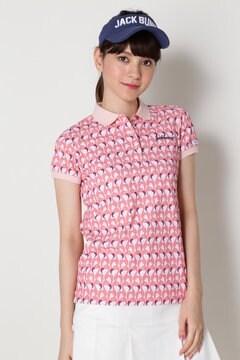 ドライカノコ フラミンゴ プリント 半袖ポロシャツ