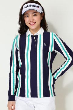 ストライブプリント長袖カラーシャツ