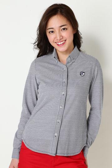 格子ジャガード ボタンダウンカットシャツ