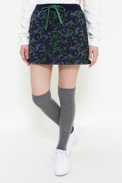 フリースカモレオパードプリント ミニスカート