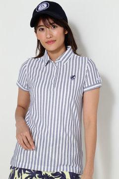 変形スムース ストライプ半袖ポロシャツ