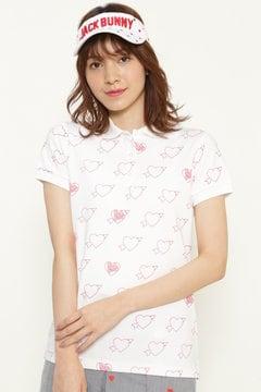 ポンチ ハートプリント 半袖 ポロシャツ
