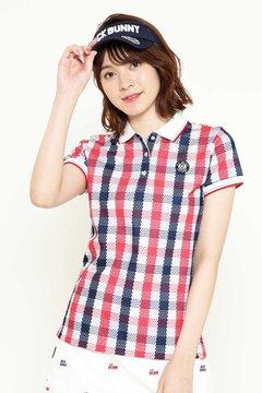 ポリコット カノコ チェック チェックプリント 半袖ポロシャツ