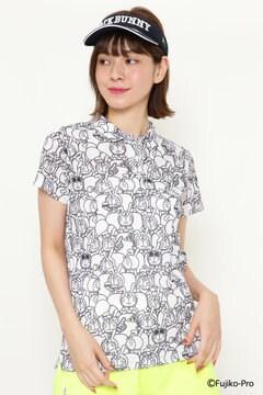 【ドラえもん】DRY MASTER カノコ 総柄  ネオン プリント 半袖ポロシャツ