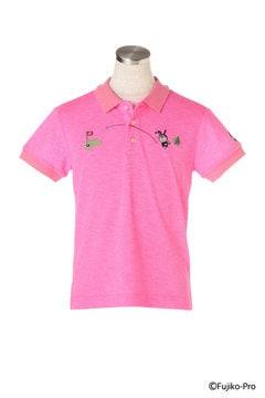【ドラえもん】メランジネオンカノコ 半袖ポロシャツ