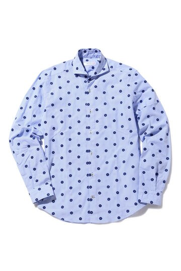 POGGIANTI ボタンモチーフストライプシャツ