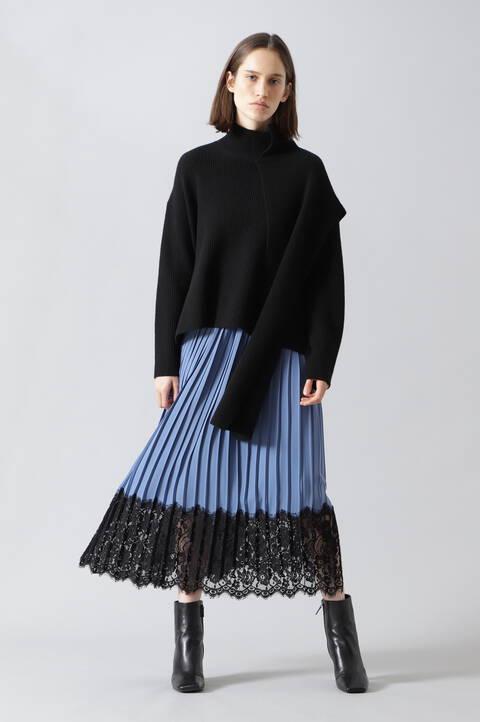 レーシーヘムプリーツスカート
