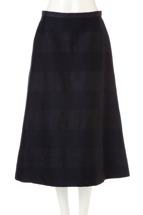麻ボーダーセミフレアースカート