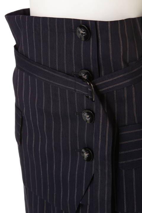 麻ストライプカマーベルト付きスカート