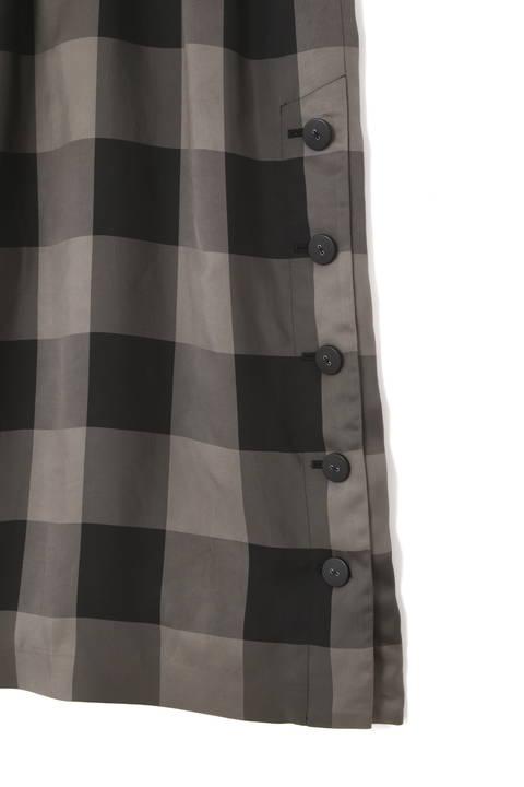 ヴィスコースチェックサイドボタンスカート