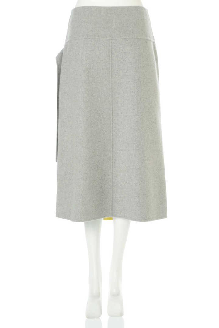 コントラストレザーコンビラップ風スカート