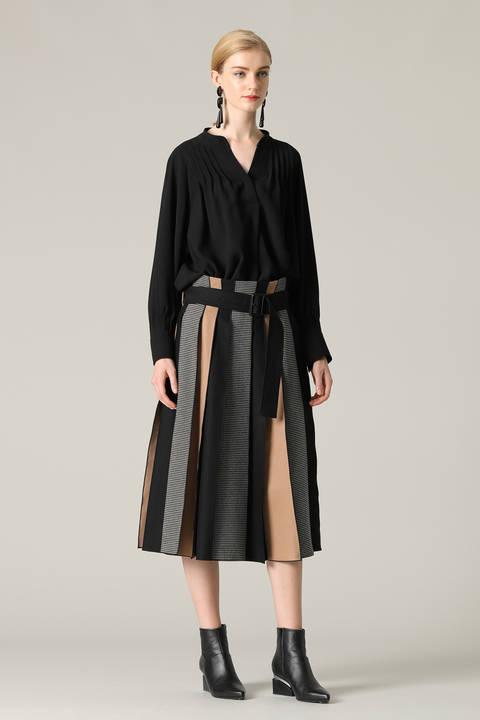 パッチワークストライプベルト付きスカート